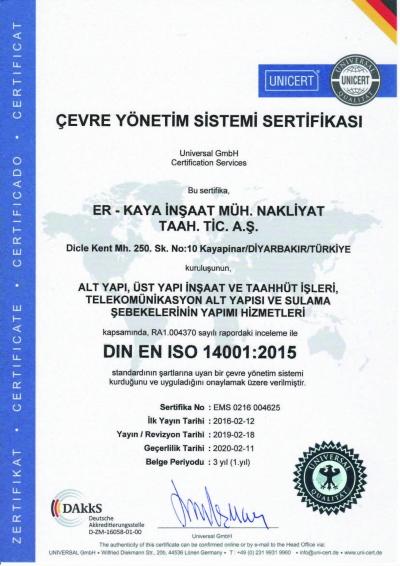 Çevre Yönetim Sistemi Sertifikası